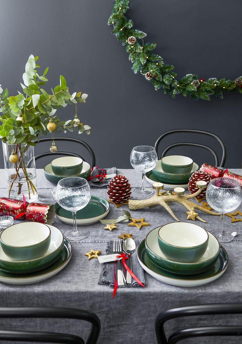 """<p>Create a <a href=""""https://www.housebeautiful.com/uk/decorate/looks/a35055193/christmas-table-ideas/"""" rel=""""nofollow noopener"""" target=""""_blank"""" data-ylk=""""slk:Christmas tablescape"""" class=""""link rapid-noclick-resp"""">Christmas tablescape</a> to remember with Tesco's Fox & Ivy homeware range. Some of the standout pieces to have on your radar include luxury red crackers (£12), gorgeous <a href=""""https://www.housebeautiful.com/uk/lifestyle/shopping/g29585316/christmas-garland/"""" rel=""""nofollow noopener"""" target=""""_blank"""" data-ylk=""""slk:garlands"""" class=""""link rapid-noclick-resp"""">garlands</a> (£10), and a 12-piece dinnerware set (£35) that has all you need for the ultimate festive feast. Why not bring some holiday cheer to your table this season...</p>"""