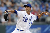 Kansas City Royals pitcher Mike Minor throws against a Chicago White Sox batter in the first inning of a baseball game at Kauffman Stadium in Kansas City, Mo., Monday, July 26, 2021. (AP Photo/Colin E. Braley)