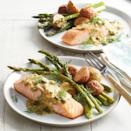 <p>The classic pairing of dill and roasted salmon gets an upgrade with a tangy mustard-caper sauce.</p>