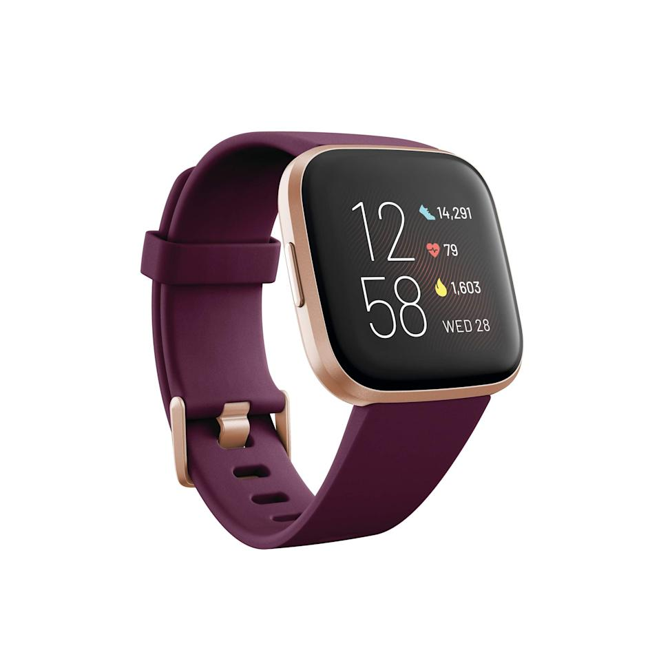 """<br><br><strong>Fitbit</strong> Versa 2 Health and Fitness Smartwatch, $, available at <a href=""""https://amzn.to/372PYbq"""" rel=""""nofollow noopener"""" target=""""_blank"""" data-ylk=""""slk:Amazon"""" class=""""link rapid-noclick-resp"""">Amazon</a>"""