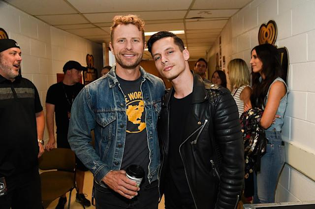 <p>Dierks Bentley and Devin Dawson attends the 2017 iHeartCountry Festival, A Music Experience by AT&T at The Frank Erwin Center on May 6, 2017 in Austin, Texas. (Photo: Rick Kern) </p>