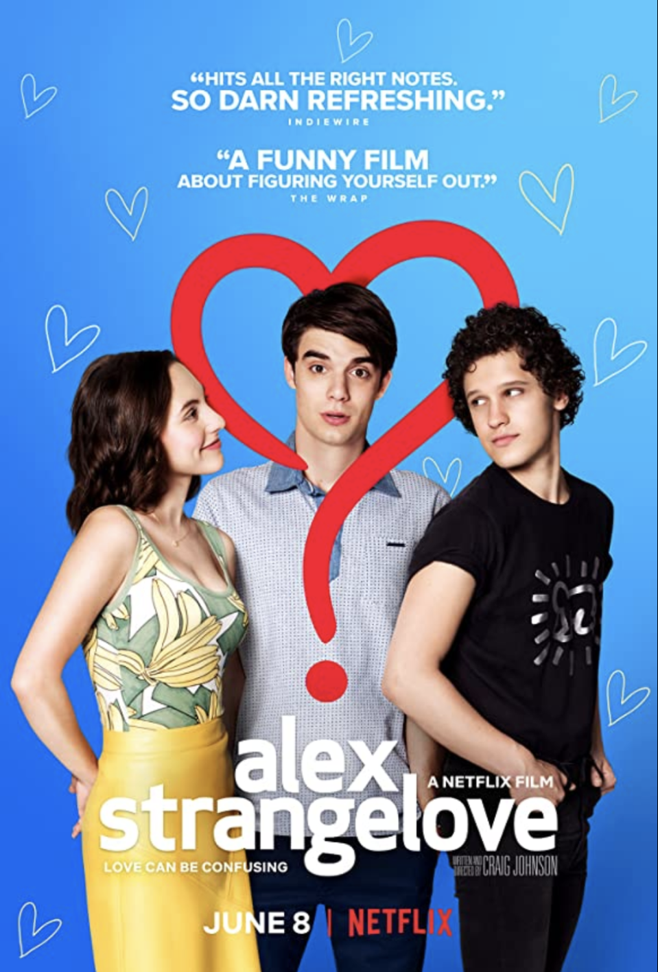 "<p>High school senior Alex is happily dating his girlfriend Claire. But when he meets handsome Elliot, Alex realizes his sexual identity may not be as clear as he thought. </p><p><a class=""link rapid-noclick-resp"" href=""https://www.netflix.com/search?q=Alex+Strangelove&jbv=80168189"" rel=""nofollow noopener"" target=""_blank"" data-ylk=""slk:STREAM NOW"">STREAM NOW</a></p>"
