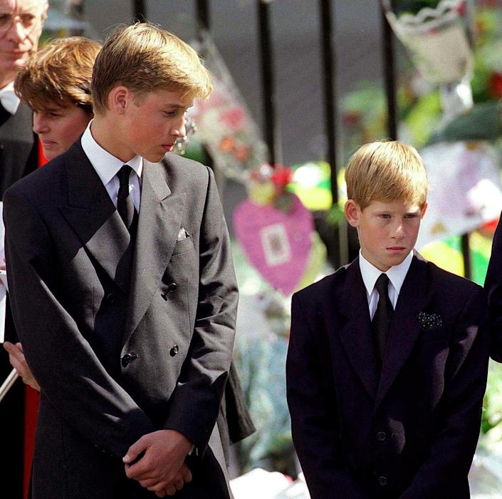 """<p>Harry and William attend Princess Diana's funeral. """"My mother had just died, and I had to walk a long way behind her coffin, surrounded by thousands of people watching me while millions more did on television,"""" Harry told <a href=""""http://www.newsweek.com/2017/06/30/prince-harry-depression-diana-death-why-world-needs-magic-627833.html"""" rel=""""nofollow noopener"""" target=""""_blank"""" data-ylk=""""slk:Newsweek"""" class=""""link rapid-noclick-resp""""><em>Newsweek</em></a> in 2017. """"I don't think any child should be asked to do that, under any circumstances. I don't think it would happen."""" Harry would quietly turn 13 nine days later.<br></p>"""