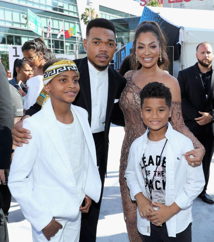 Chance the Rapper, La La Anthony, Kiyan Anthony, and another guest at Live! Red! Ready! Pre-Show at the BET Awards on June 25. (Photo: Getty Images)