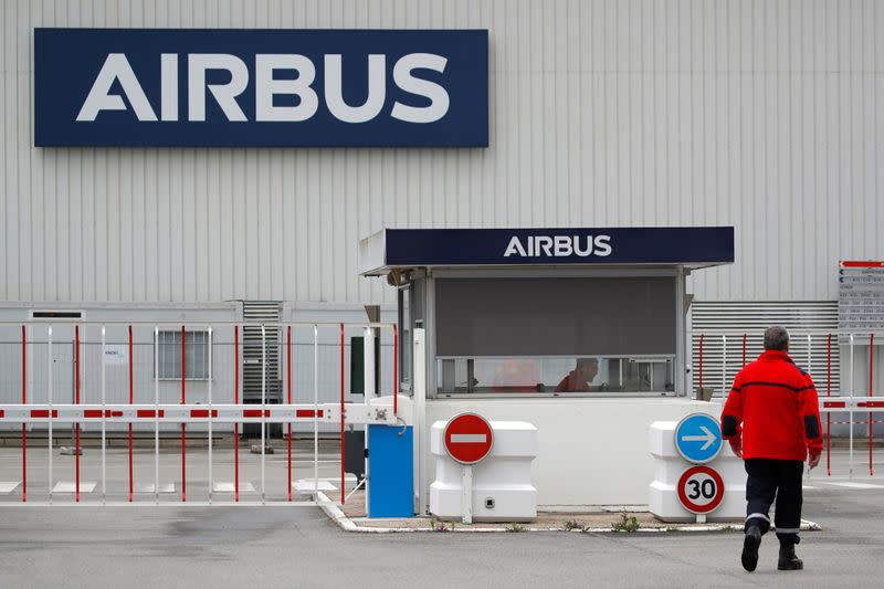 The logo of Airbus is pictured at the entrance of the Airbus facility in Bouguenais