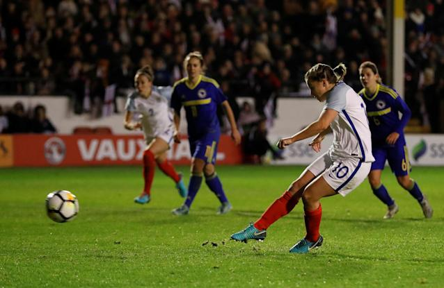 Soccer Football - Women's World Cup Qualifier - England vs Bosnia & Herzegovina - The Banks's Stadium, Walsall, Britain - November 24, 2017 England's Fran Kirby scores their fourth goal Action Images via Reuters/Andrew Boyers