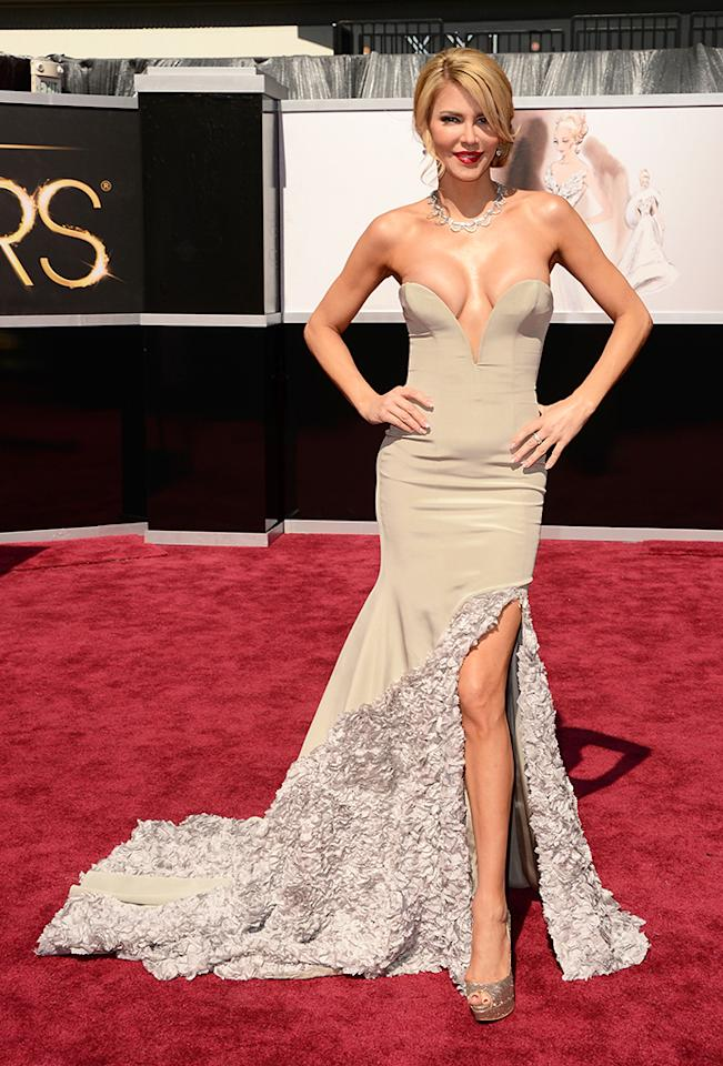 Brandi Glanville arrives at the Oscars in Hollywood, California, on February 24, 2013.