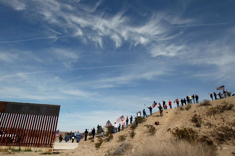 The protest comes ahead of President Donald Trump's planned visit Monday to nearby El Paso. (Reuters)