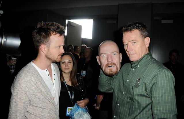 "Aaron Paul and Bryan Cranston speak onstage at the ""Breaking Bad"" panel during Comic-Con International 2013 at San Diego Convention Center on July 21, 2013 in San Diego, California."