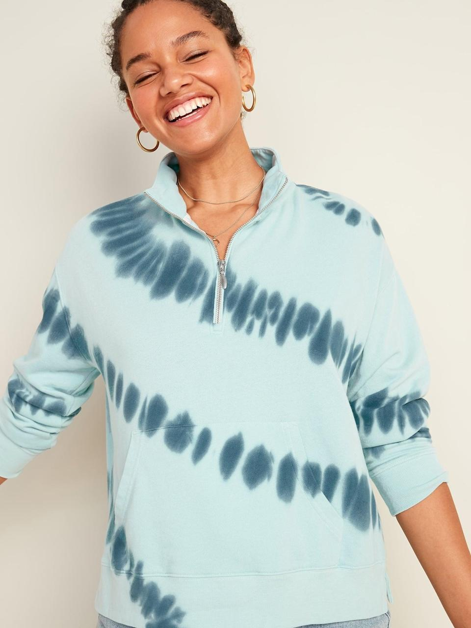 <p>Let the good vibes roll with this effortlessly cool and comfy <span>Mock-Neck 1/2-Zip Sweatshirt</span> ($20, originally $28).</p>