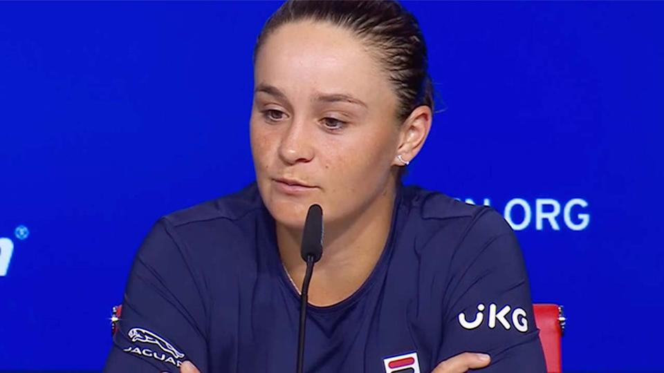 Ash Barty (pictured) talking at her US Open press conference.
