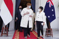In this photo released by the Indonesian Ministry of Foreign Affairs, Australian Foreign Minister Marise Payne, second left, and Defense Minister Peter Dutton, rear left, walk with their Indonesian counterpart Retno Marsudi, right, and Prabowo Subianto, rear right, after their meeting in Jakarta, Indonesia, Thursday, Sept. 9, 2021. Australia's foreign and defense ministers are visiting Indonesia, India, South Korea and the United States to bolster economic and security relationships within the Asia-Pacific region, where tensions are rising with China. (Indonesian Ministry of Foreign Affairs via AP)