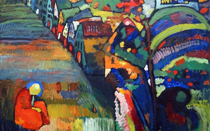 Painting with Houses by Wassily Kandinsky remains in Amsterdam's modern art museum - Universal Images Group Editorial