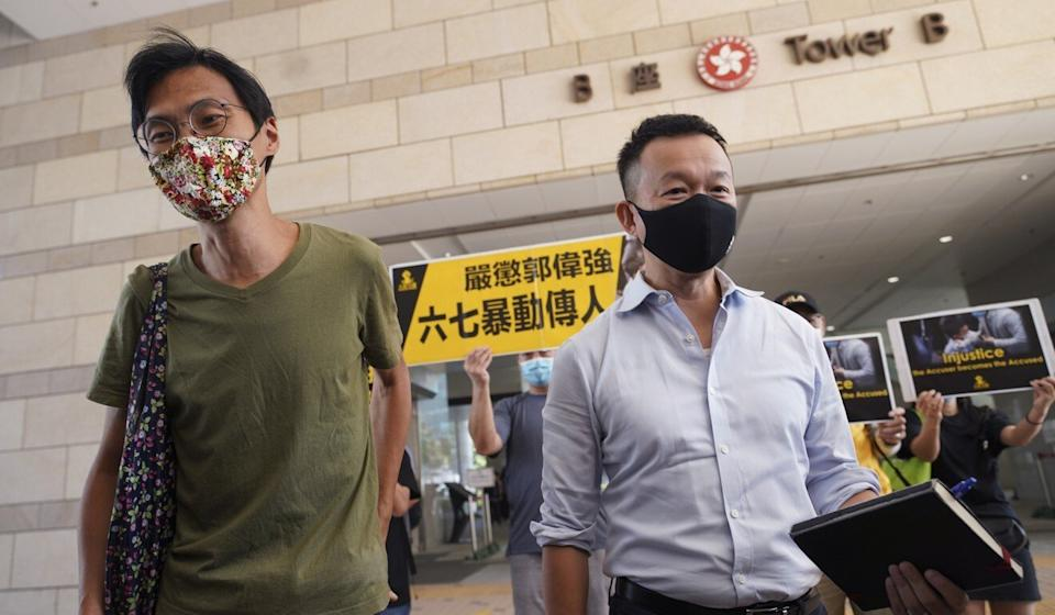 Former lawmakers Eddie Chu (left) and Raymond Chan arrive at West Kowloon Court on Friday. Photo: Winson Wong