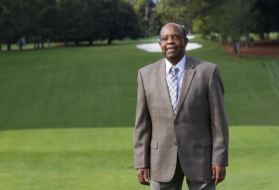 Lee Elder at the first tee of Augusta National Golf Club, 2020. (Courtesy AGNC)