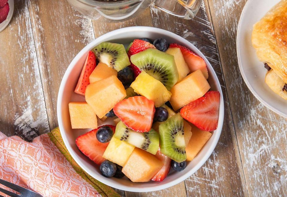 """<p>Fruit salad is a profoundly underrated party side. It can fit any occasion and adds a splash of color and sweetness to any plate, be it full of turkey, barbecue or sandwiches. Use this fruit salad's use of vanilla as a template, but feel free to use <a href=""""https://www.thedailymeal.com/healthy-eating/monthly-guide-seasonal-produce?referrer=yahoo&category=beauty_food&include_utm=1&utm_medium=referral&utm_source=yahoo&utm_campaign=feed"""" rel=""""nofollow noopener"""" target=""""_blank"""" data-ylk=""""slk:whatever fruit may be in season"""" class=""""link rapid-noclick-resp"""">whatever fruit may be in season</a>.</p> <p><a href=""""https://www.thedailymeal.com/recipes/very-vanilla-fruit-salad?referrer=yahoo&category=beauty_food&include_utm=1&utm_medium=referral&utm_source=yahoo&utm_campaign=feed"""" rel=""""nofollow noopener"""" target=""""_blank"""" data-ylk=""""slk:For the Very Vanilla Fruit Salad recipe, click here."""" class=""""link rapid-noclick-resp"""">For the Very Vanilla Fruit Salad recipe, click here.</a></p>"""