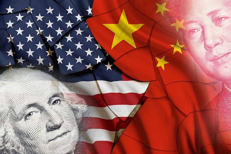 Serious trade tension or trade war between US and China, financial concept : Flags of USA and China with faces of Gorge Washington and Mao Zedong, depicts trade deficit between Washington and Beijing.