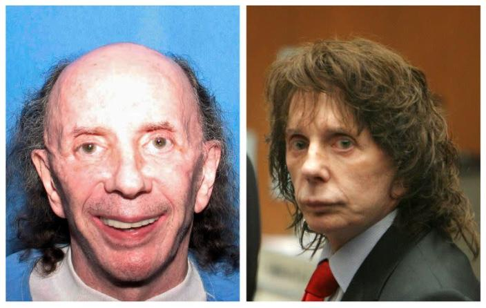 FILE PHOTO: A combination photo shows music legend Phil Spector in prison in Corcoran and in court in Los Angeles