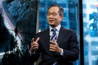 Carlyle Group CEO Kewsong Lee speaks during a Reuters Newsmaker event in New York