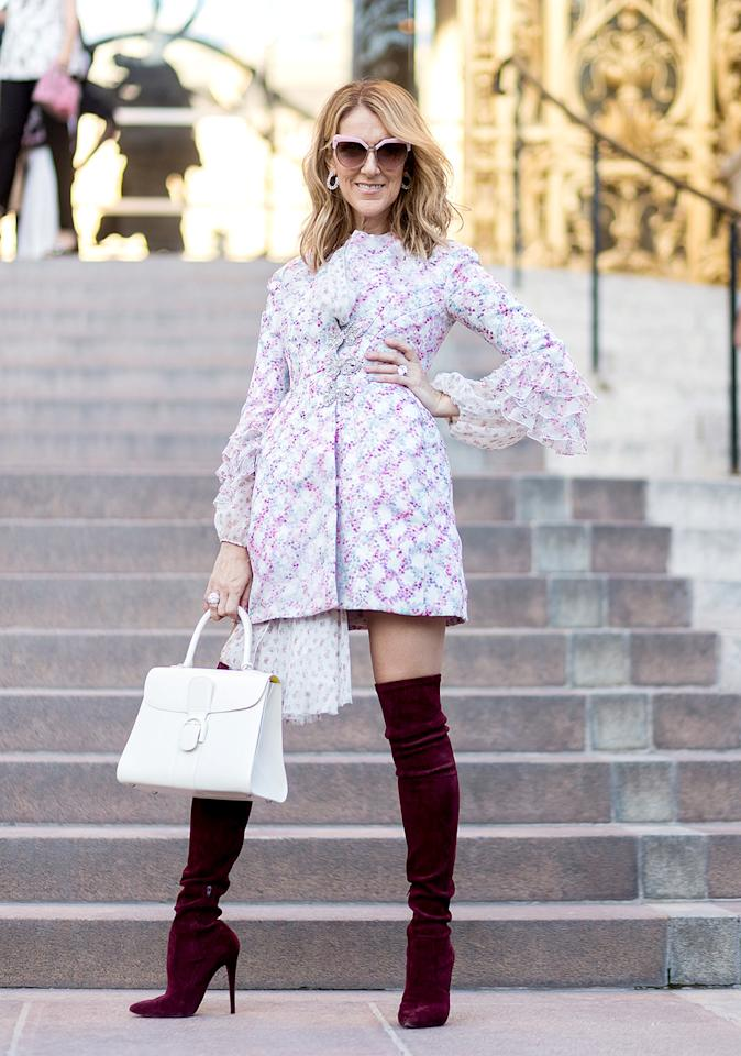 <p>Celine Dion has become a bonafide style star after showing up to the couture shows in looks such as this mini dress and velveteen boots combo.<br /><i>[Photo: Getty]</i> </p>