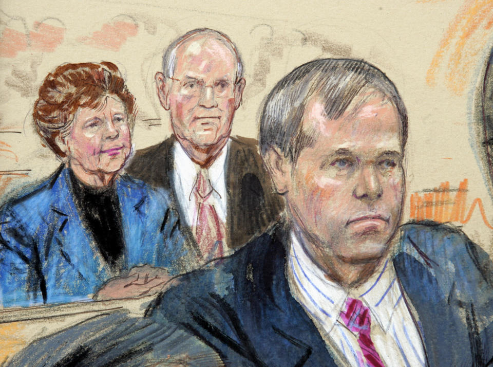 FILE - This is an artist's rendering of John Hinckley Jr., right, and his parents Jack and Jo Ann in federal court in Washington, Monday, Nov. 8, 2004. Jo Ann Hinckley, whose son John Hinckley Jr. attempted to assassinate President Ronald Reagan in 1981 and who spent her final years living with her son in Virginia, has died. Barry Levine, John Hinckley's longtime attorney, confirmed Hinckley's death to The Associated Press on Tuesday, Aug. 3, 2021. (AP Photo/Dana Verkouteren)