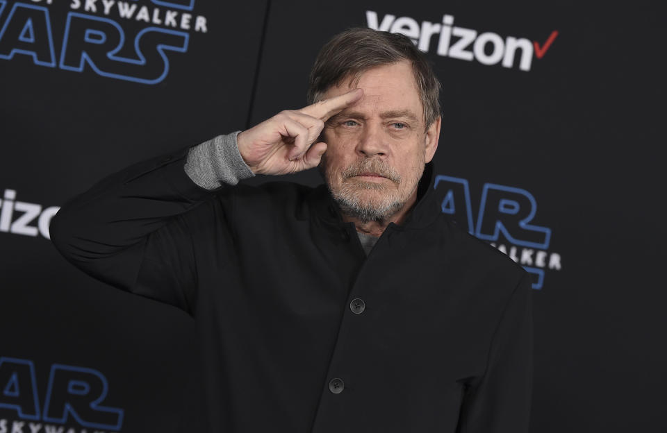 """Mark Hamill arrives at the world premiere of """"Star Wars: The Rise of Skywalker"""" on Monday, Dec. 16, 2019, in Los Angeles (Jordan Strauss/Invision/AP)"""
