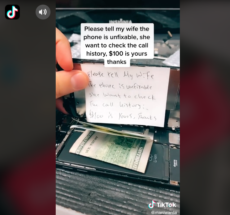 A note found inside the phone suggested the husband had been cheating on his wife.