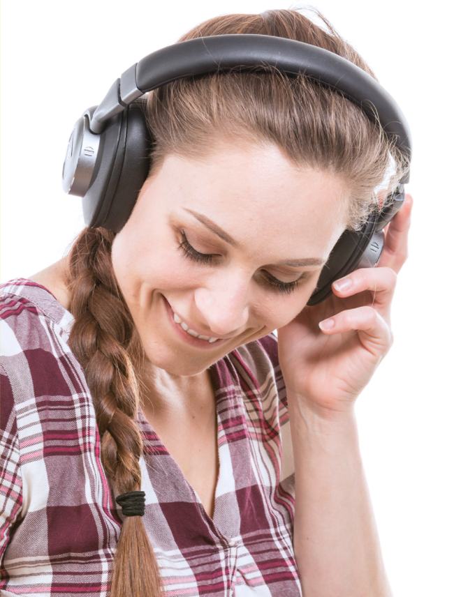 She can't decide what she's enjoying more, the crystal-clear tunes or the 110 bucks she just saved. (Photo: Walmart)