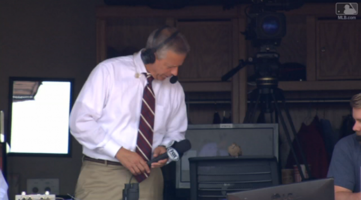 Thom Brennaman interviews a bird during a Reds game. (MLB.com Screenshot)