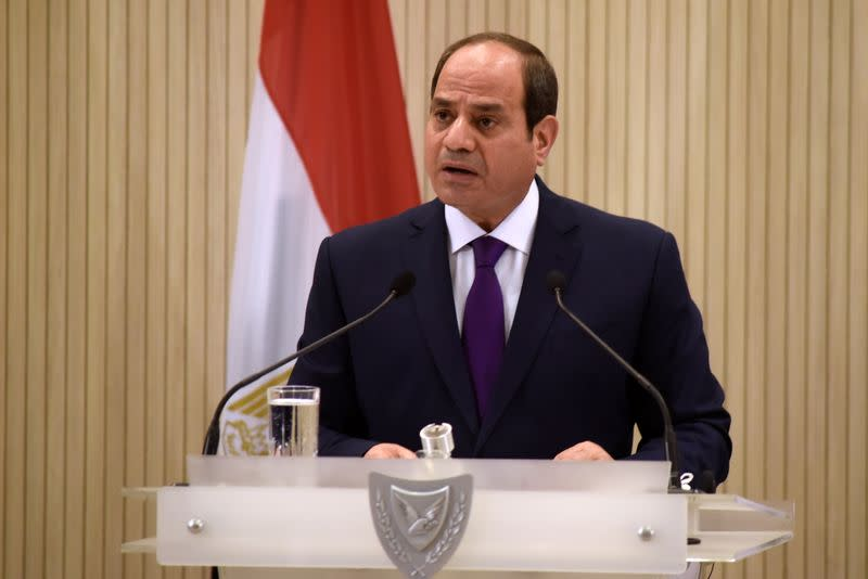 FILE PHOTO: Egyptian President Abdel Fattah al-Sisi speaks after a trilateral summit between Greece, Cyprus and Egypt in Nicosia