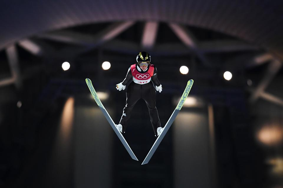 <p>Carina Vogt of Germany makes a jump during the Ladies' Normal Hill Individual Ski Jumping Final on day three of the PyeongChang 2018 Winter Olympic Games at Alpensia Ski Jumping Centre on February 12, 2018 in Pyeongchang-gun, South Korea. (Photo by Matthias Hangst/Getty Images) </p>
