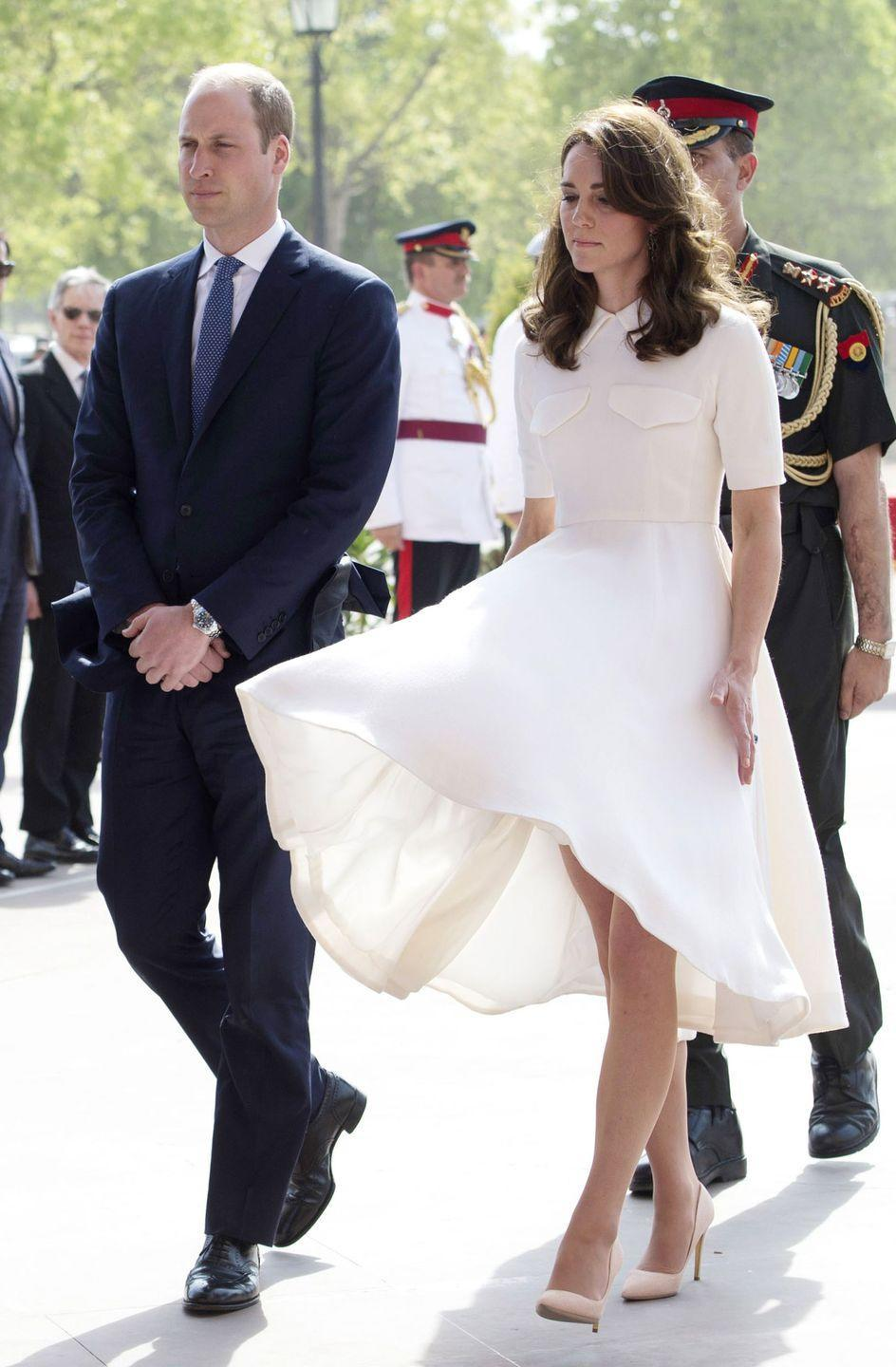 """<p>Kate is the Queen (pun intended) of the Marilyn Monroe wardrobe malfunction. In fact, this moment in 2016 comes closest to looking like an <a href=""""https://www.fashionstylemag.com/2016/celebrity/kate-middleton-had-a-true-marilyn-monroe-moment/"""" rel=""""nofollow noopener"""" target=""""_blank"""" data-ylk=""""slk:exact replica of the iconic photo"""" class=""""link rapid-noclick-resp"""">exact replica of the iconic photo</a>. Kate typically keeps her cool when these incidents occur.</p>"""