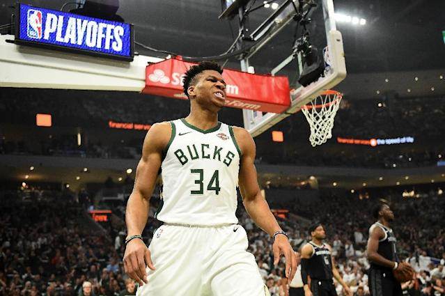 Giannis Antetokounmpo exploded for 24 points and 17 rebounds as the Milwaukee Bucks proved they are worthy of being the top seed in the East with a dominating victory over the Detroit Pistons (AFP Photo/Stacy Revere)