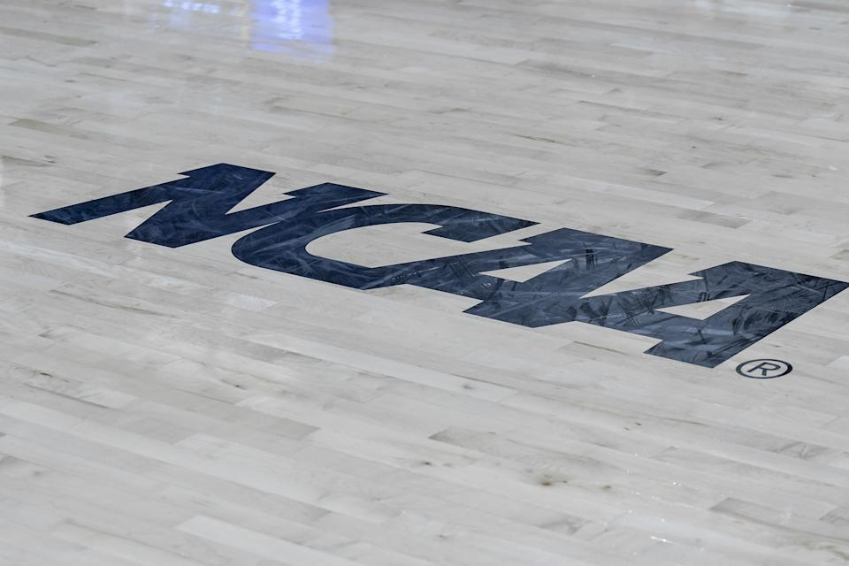 RALEIGH, NC - MARCH 25:  NCAA logo during the 2019 Div 1 Championship - Second Round college basketball game between the Kentucky Wildcats and the NC State Wolfpack on March 25, 2019 at Reynolds Coliseum in Raleigh, NC. (Photo by Michael Berg/Icon Sportswire via Getty Images)