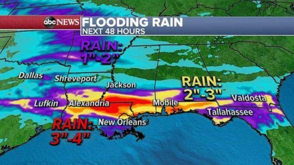 PHOTO: Another round of rain is expected along the Gulf Coast on Friday into the Weekend with another 3 to as much as 4 inches of rain possible.  (ABC News)