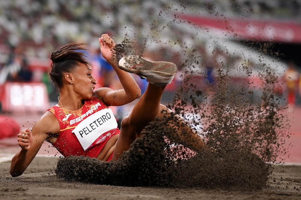 TOKYO, JAPAN - JULY 30: Ana Peleteiro of Team Spain competes in the Women's Triple Jump Qualification on day seven of the Tokyo 2020 Olympic Games at Olympic Stadium on July 30, 2021 in Tokyo, Japan. (Photo by Matthias Hangst/Getty Images)