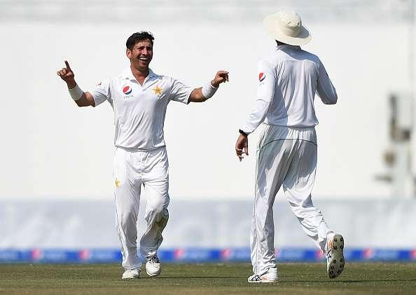ABU DHABI, UNITED ARAB EMIRATES - OCTOBER 25: Yasir Shah of Pakistan celebrates taking the wicket of Miguel Cummins of West Indies during Day Five of the Second Test between Pakistan and West Indies at Zayed Cricket Stadium on October 25, 2016 in Abu Dhabi, United Arab Emirates. (Photo by Tom Dulat/Getty Images)