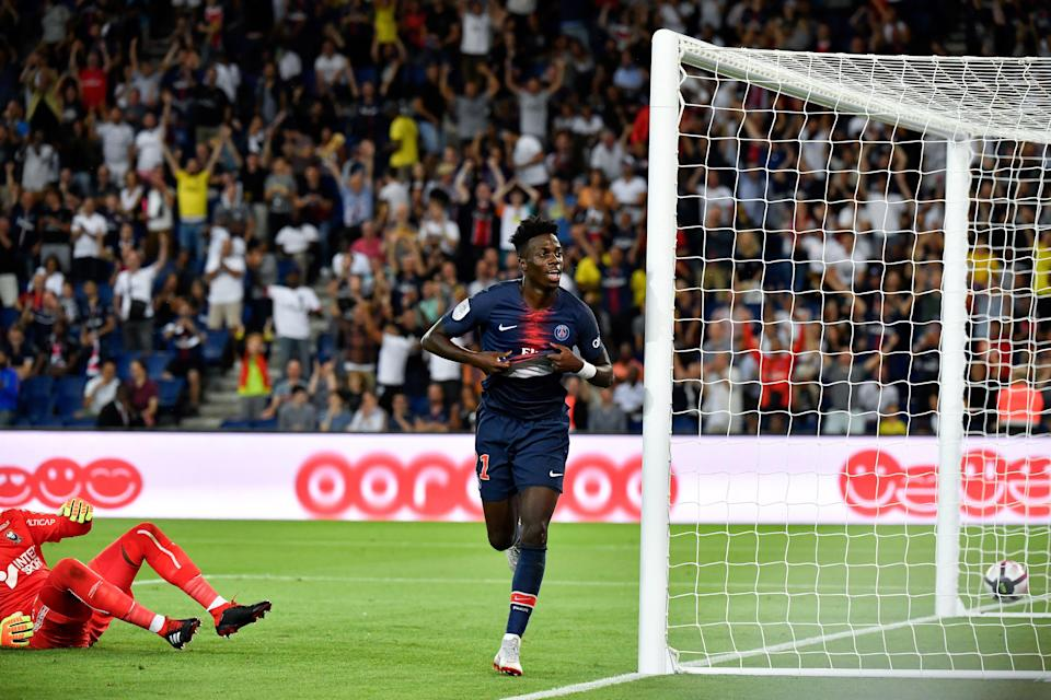 Tim Weah celebrates his first Ligue 1 goal for PSG. (Getty)