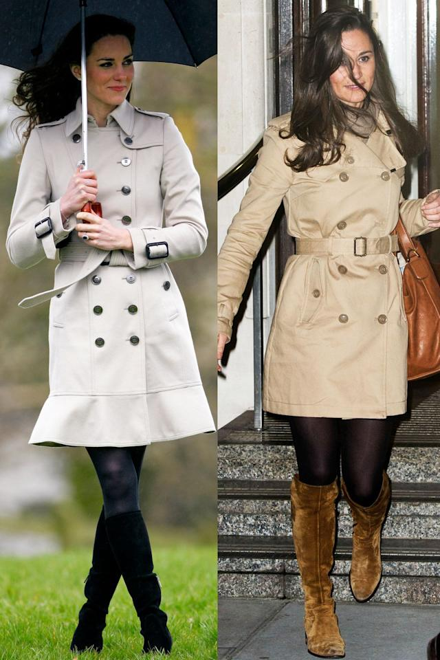 <p>Let Kate and Pippa show you the perfect three-piece combination for fall. The sisters both chose belted trenches with tights and knee-high boots (black for Kate and brown for Pippa) while braving the windy weather. Kate's trench is from Burberry while Pippa's is from Superdry.</p>