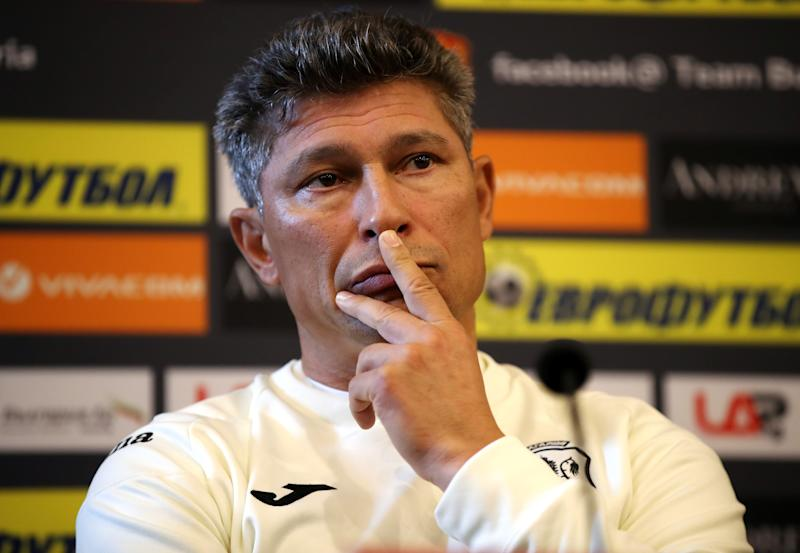 Bulgaria manager Krasimir Balakov during a press conference at the Vasil Levski National Stadium, Sofia. (Photo by Nick Potts/PA Images via Getty Images)