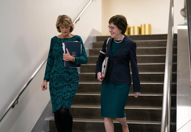 GOP Sens. Lisa Murkowski (Alaska) and Susan Collins (Maine) walk together following a vote at the Capitol in February.So far, they are the only Republicans to publicly break with their party's leadership on the timing of a vote to confirm a Supreme Court nominee. (Photo: AP Photo/J. Scott Applewhite)
