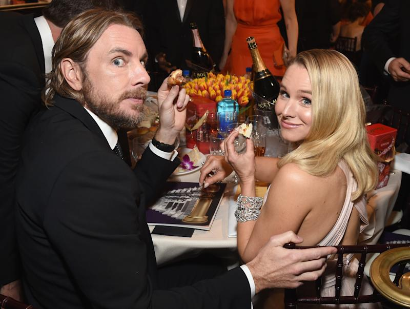 BEVERLY HILLS, CA - JANUARY 06: (L) Dax Shepard and Kristen Bell attend Moet & Chandon at The 76th Annual Golden Globe Awards at The Beverly Hilton Hotel on January 6, 2019 in Beverly Hills, California. (Photo by Michael Kovac/Getty Images for Moet & Chandon)