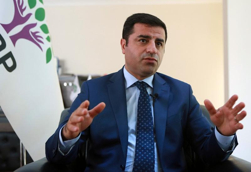 Selahattin Demirtas, the co-chairman of the Peoples' Democratic Party (HDP), speaks during an interview with AFP on July 22, 2016 in Ankara