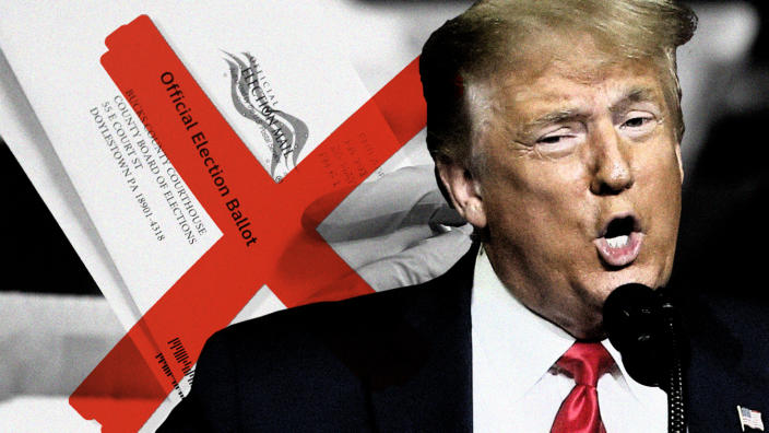President Trump and the mail-in ballot. (Photo illustration: Yahoo News; photos: AP, Getty Images, Matt Slocum/AP)