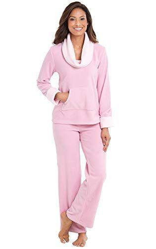 """<p><strong>PajamaGram</strong></p><p>amazon.com</p><p><strong>$59.99</strong></p><p><a href=""""https://www.amazon.com/dp/B01F9D96OI?tag=syn-yahoo-20&ascsubtag=%5Bartid%7C2141.g.37664571%5Bsrc%7Cyahoo-us"""" rel=""""nofollow noopener"""" target=""""_blank"""" data-ylk=""""slk:Shop Now"""" class=""""link rapid-noclick-resp"""">Shop Now</a></p><p>This chic cowl neck design is a unique twist on traditional fleece pajamas. Made from 95% polyester and 5% spandex, <strong>they fit intentionally roomy</strong>, so it's recommended to size down. </p>"""