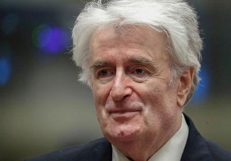 Former Bosnian Serb leader Karadzic appears in a courtroom before the International Residual Mechanism for Criminal Tribunals in The Hague
