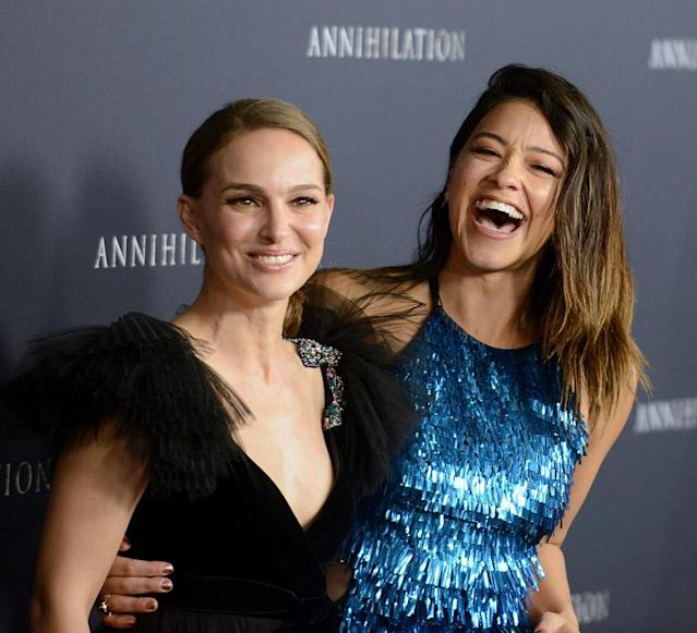 <p>This dynamic duo celebrated Galentine's Day on the red carpet on Tuesday at the premiere of their new flick, <em>Annihilation,</em> in L.A. (Photo: Albert L. Ortega/Getty Images) </p>