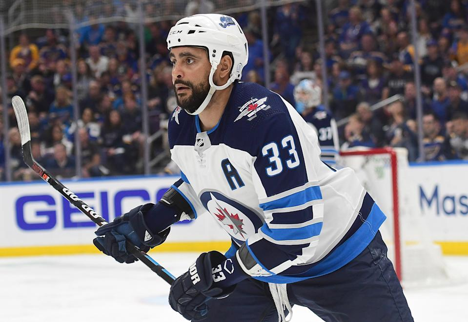 ST. LOUIS, MO - APRIL 16: Winnipeg Jets defenseman Dustin Byfuglien (33) during a first round Stanley Cup Playoffs game between the Winnipeg Jets and the St. Louis Blues, on April 16, 2019, at Enterprise Center, St. Louis, Mo. (Photo by Keith Gillett/Icon Sportswire via Getty Images)