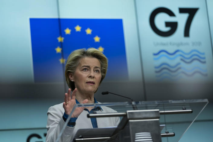 European Commission President Ursula von der Leyen speaks during a joint news conference with European Council President Charles Michel ahead of the G7 summit, at the EU headquarters in Brussels, Thursday, June 10, 2021. Charles Michel and Ursula von der Leyen will attend the G7 summit in Cornwall, southwest England. (AP Photo/Francisco Seco, Pool)