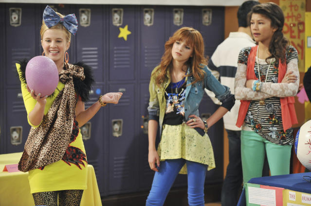 Caroline Sunshine, Bella Thorne, and Zendaya in <em>Shake It Up</em>. (Photo: Eric McCandless/Disney Channel via Getty Images)